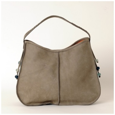 Moroccan Grey Leather Hobo Bag