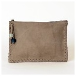 Moroccan Grey Leather Zip Pouch