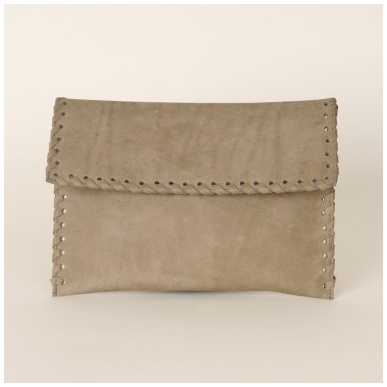 Moroccan Grey Leather Folded Envelope Clutch